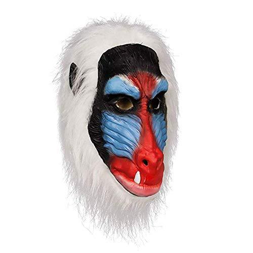 Lixinfushi Pavian Maske, Halloween Kostüm Latex Masken, Dschungeltiere Schimpanse Affenkopf Gummimaske Primas AFFE Weiß (Schimpanse Maske Kostüm)