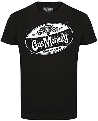 Gas Monkey Garage T-Shirt Distressed Shield Black-XL