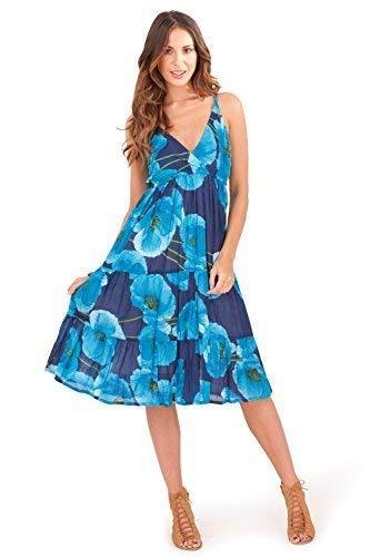 f46e6d0941a Trueboy Damen Wickeloptik Kleid midi Blumenmuster Knielang Baumwolle Damen  sommerkleidung - blau.