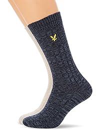 Lyle & Scott Men's 2-Pack Mouline Boot Socks, Navy/Stone