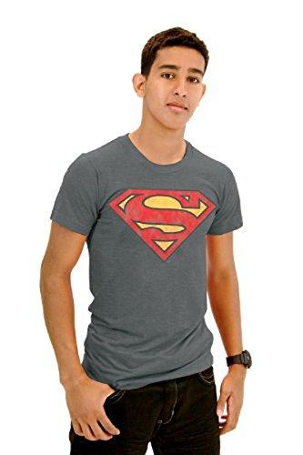 Junk Food Superman Original Logo Erwachsene Steel grau T-Shirt (XX-Large) (Food-superman Junk)