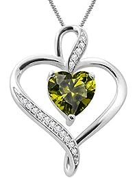 "Silvernshine Women's 1.25 Ct Heart Cut Peridot & Diamond Pendant Necklace, 18"" .925 Silver Chain"