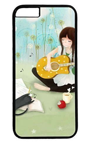 Cute Girl Playing Guitar Cartoon PC Black Case for Masterpiece Limited Design iphone 6 by Cases & Mousepads