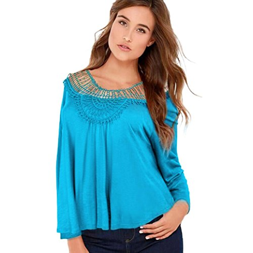 JUTOO Frauen Langarm-Shirt Casual Lace Floral Bluse lose -
