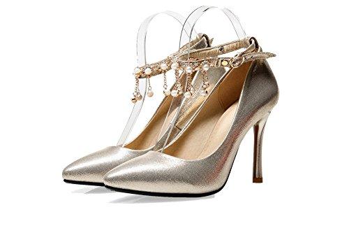 Sapatos De Apontado Allhqfashion Macio Material Inseridos Fivela Calcanhar De Senhoras Bombas Ouro Alta Dedo PxwnR7qRSa