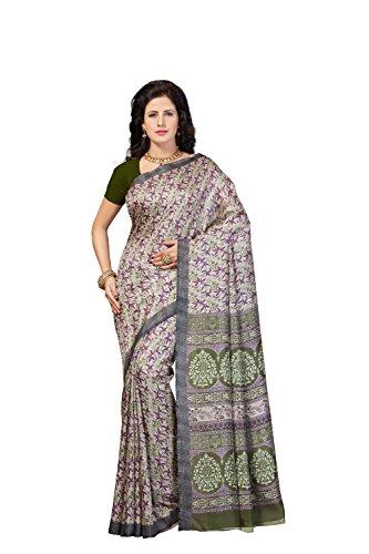 Rani Saahiba Printed Art Jute Silk Saree (SKR4314_Green)