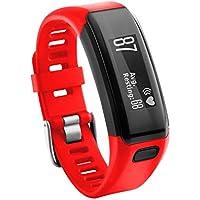 Garmin Vivosmart HR Banda,Replacement Soft Silicone Bracelet Strap Wristband For Garmin Vivosmart HR Pulsera Inteligente con M/últiples Modos De Deporte Rojo, Length: 230MM Width:21MM