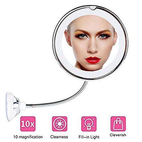 VICSPORT Espejo de Maquillaje Flexible con Cuello de Cisne Iluminado con luz LED 10 aumentos, Espejo...