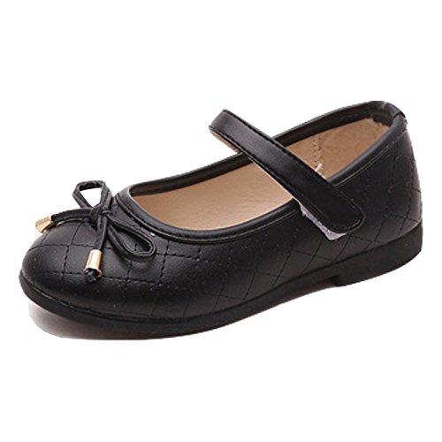 De feuilles CHIC-CHIC Chaussures Bébé Chaussons Cuir Nœud à Deux Boucles Printemps Bébé Fille Garçons Enfant Chaussures Noir 29