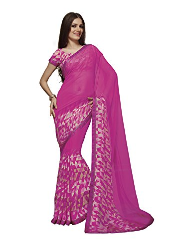 Subhash Sarees Pink Color Georgette Printed Saree  available at amazon for Rs.1252
