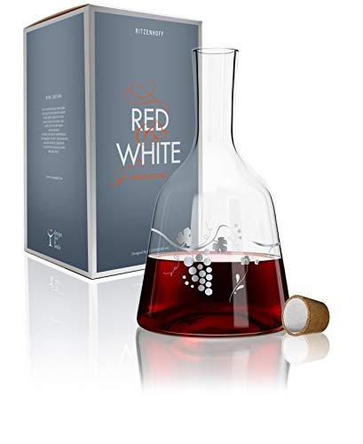 Ritzenhoff 3280001 Red & White Weinkaraffe Glas 15 x 15 x 26,7 cm, Mehrfarbig