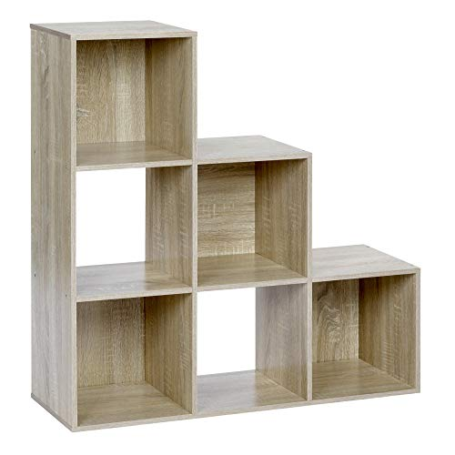 ts-ideen Stufenregal Design Regal 6 Fächer Standregal Bücherregal CD-Regal Aufbewahrung Holz Eiche 90 x 90 cm
