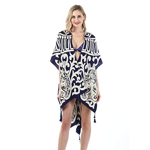 QIMANZI Strand Handtuch Damen Twill Baumwolle Sommer Badebekleidung Kimono Strickjacke Beiläufig Lose Öffnen Schal(E4) - Pink Gestreiften Strand Handtuch