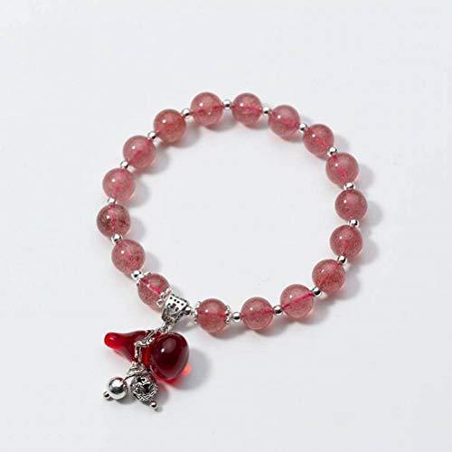 BinLZ S925 Silber Armband Weiblichen Roten Kürbis Süße Erdbeer Kristall Armband Temperament Kristall, s, S925 Silberarmband, Einheitsgröße