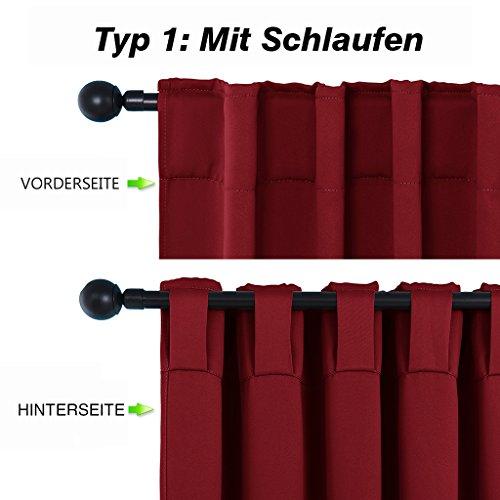 Blickdichte Vorhänge Isolierte Vorhänge – PONYDANCE Blickdichte Vorhänge mit Stangendurchzug für Wohnzimmer, Energiespar & Wärmeisolierend, H 213 cm x B 132 cm, Rot - 2