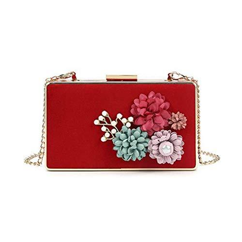 dtasche, Clutch Blumen Dekor Prom Hochzeit Handtasche Braut PU Leder Handtasche Party Taschen, Rot-18,5 cm * 3,5 cm * 10,5 cm Griff Tasche ()