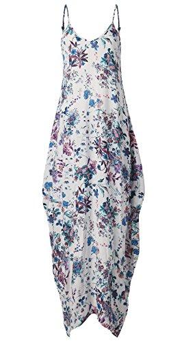 Donna Vestiti Lunghi Eleganti Estivi Stampato Floreale Taglie Forti Vestitini Moda Giovane Largo Spiaggia Vintage Casuale Vestito Maxi Abito Di Cablaggio Sundresses Cotone Bianco