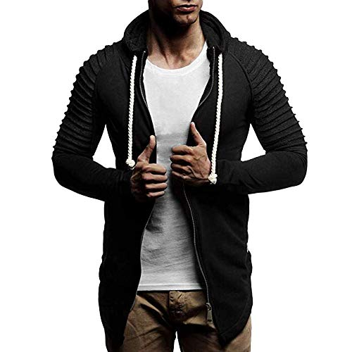 BOLAWOO Herren Herbst Lange Nähte Zipper Patchwork Hoodie Ärmel Farbe Mode Marken Pullover Bluse Oberteile Winter Outdoor Sportbekleidung (Color : Schwarz, Size : 3XL)