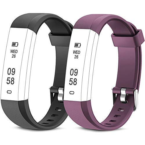 Rayfit Pulseras de Repuesto para Fitness Tracker ID115U / 115U/ 115UU Monitor de Actividad Banda Reemplazo Correa de Reloj Inteligente (Negro + Púrpura)