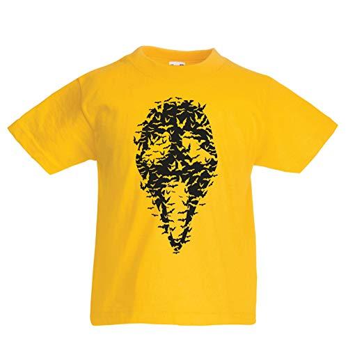 lepni.me Kinder Jungen/Mädchen T-Shirt Geister - gruselige Fledermäuse, Halloween Partykostüm (3-4 Years Gelb Mehrfarben)