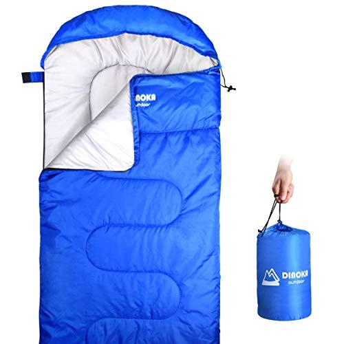 DINOKA Camping Schlafsack für Outdoor - 3 Season Warm & Cool Weather - Sommer, Frühling, Herbst, leicht, wasserdicht für Erwachsene & Kinder - Campingausrüstung, Reisen und im Freien