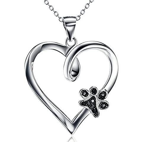 Silver Mountain 925 Sterling Silver Dog Paw Print Heart Pendant