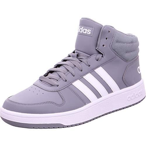 Adidas hoops 2.0 mid, scarpe da basket uomo, grigio grey/ftwwht/cblack, 46 2/3 eu