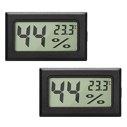 EEEKit 2-Pack LCD Digital Temperatur-Feuchtigkeitsmesser Thermometer, Mini-Digital-Thermometer Hygrometer und Feuchtigkeitsmesser für Gew?chshaus/Autos / Home/Office, schwarz