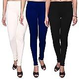 Trasa Leggings for Womens and Girls Cotton Lycra Multicolour Churidar Leggings - XXXL - Black, White, Navy Blue (Brand Outlet) - Pack of 3