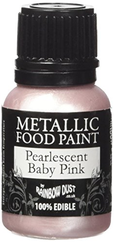 Rainbow Dust Metallic-Lebensmittelfarbe Perlmutt Baby Pink, 1er Pack (1 x 25 ml) - Rosa Pulver