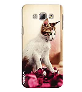 Omnam White Cat Lying On Rose Printed Designer Back Cover Case For Samsung Galaxy A8