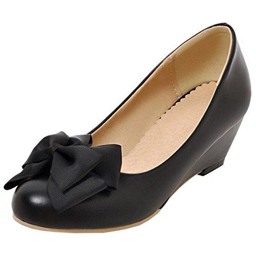 Compenses Daughter Escarpins Ecole Noir Talon Mid Chaussures Robe For COOLCEPT Femmes Doux Bow n0HPqxUC