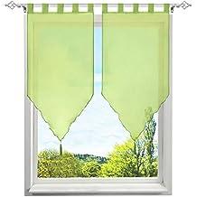 1Pièce Rideau Voilage Brise-bise en Polyester Broderie Fleurs avec Pompon  Rideaux Courts Décoration de Fenêtre Chambre Salle ... 82ffd7fe5463