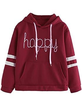 Sweatshirt Damen, DoraMe Frauen Streifen Kapuzenpullover Briefe Applique Hoodie Sweatshirt Langarm Bluse Lässig...