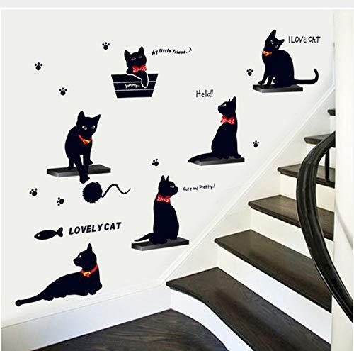 Zybnb Niedlich Spielen Schwarze Katzen Pvc Wandkunst Aufkleber Wohnzimmer Wohnaccessoires Adesivos De Parede Diy Aufkleber