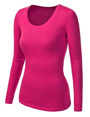 Damen Frauen Langarm T Shirt - Basic TShirt - Basis Bluse - Tops - Neon Pink