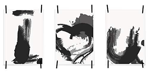 myprinti® 3er Set Bilder Sprüche Poster Kunstdruck Liebe Love | Schlafzimmer Bett Wohnzimmer | Wanddeko Deko | Größe DIN A5 | I Love You, Herz, Pinselstrich - Groß-poster-bett