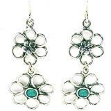 Aviv Ladies Handmade Silver Drop Flower Earrings With Opal Stones