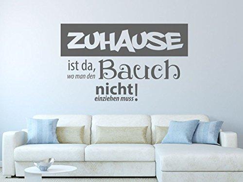 Wandtattoo-bilder® Wandtattoo Zuhause ist da wo man den Bauch Nr 1 Wohnzimmer Wanddeko Größe 140x85, Farbe Grün