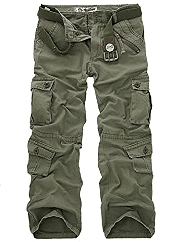 Lanbaosi Hommes durables poches multi / Pantalons Camo Cargo solides