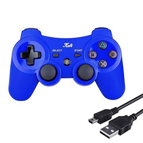Kabi Wireless Controller Double Shock Gaming Controller 6-Achsen Bluetooth Gamepad Joystick mit kostenlosem Ladekabel für PS3 Controller für Playstation 3(Blau)