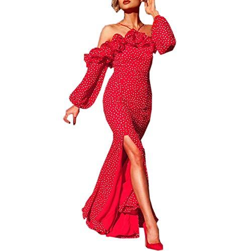 ✿✿ Amlaiworld Lang Mode Sommer Kleid Elegant Punkte drucken Gemütlich Kostüm Outdoor Slit Freizeit Kleid für Damen Beauty lässig Trägerlos Dress