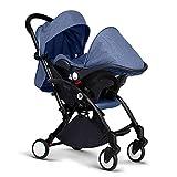 CDREAM Kinderwagen Zusammenfaltbar 3 In 1 Baby Carriage Ab 0 Monate Bis 20 Kg Reise Buggy Mit Liegeposition Und Klappbar Baby Wagen,Blue+Black(B)