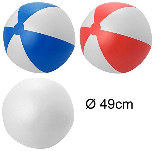 ndball aufblasbar Ø ca. 49cm Wasserspielzeug G1 (Rot-Weiss) (Rote Und Weiße Beach-ball)