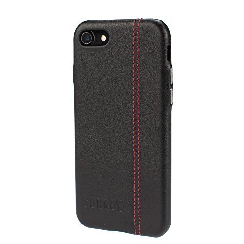 TORRO Premium Leather ' Back Bumper ' compatible with iPhone 8  Bumper  Case/Cover, ultra thin and light (For iPhone 8, Black Napa Leather)