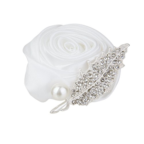 Imported Wedding Bridal Groom Ribbon Rose Buds Crystal Boutonniere Corsage White