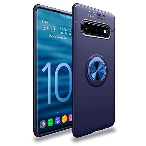 CASEWRS Hülle für Samsung Galaxy S10zurück, Ultradünne TPU Handyhülle fit weiche TPU Telefon Abdeckung Schutz mit fingerring Halterung,Blau