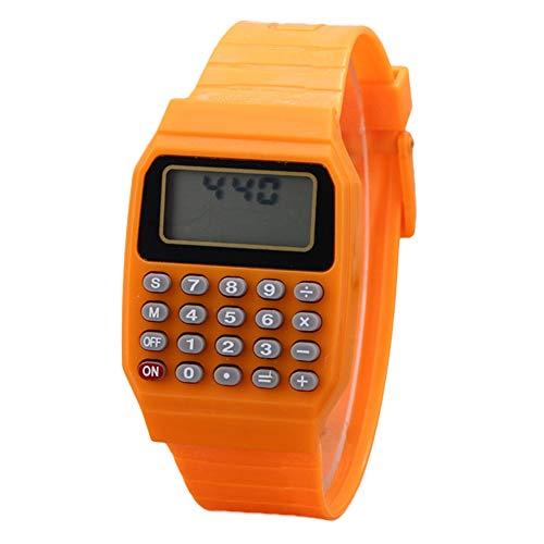 0Miaxudh Armbanduhr, Kinder Digital Square Wrist Watch Mini tragbarer Taschenrechner, Prüfungswerkzeug, Kinder Geschenk Orange