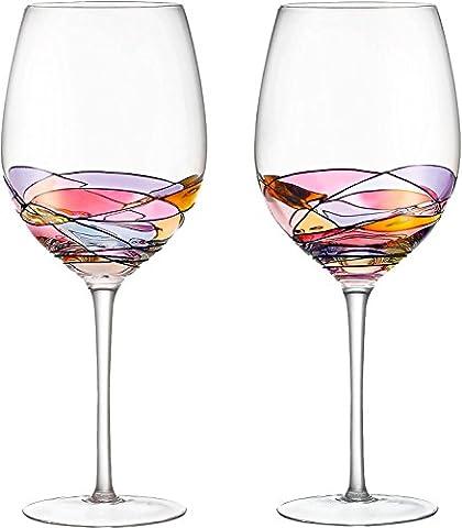 Lot de 2verres à vin rouge peinte à la main conçu avec solide Présence par Daqq, inspiré par le 'Duomo di Milano', fine Plus du Tout Décanteur de vin, cadeau unique pour les amateurs de vin