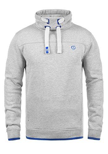 en Sweatshirt Pullover Pulli Mit Stehkragen Und Fleece-Innenseite, Größe:L, Farbe:Light Grey Melange (8242) ()